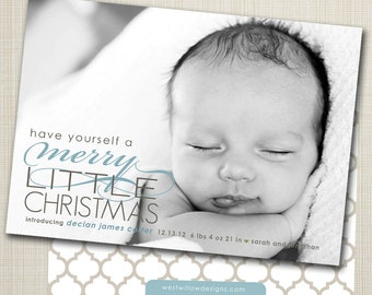 photo christmas card / birth announcement - merry.