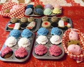 crocheted baking set  cupcakes cookies muffins AND cooking pans and basket 24 piece set