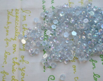 AB  Tiny Pearlized Round plastic rhinestones cabochons 4mm 4 grams Light Blue ( Clear )