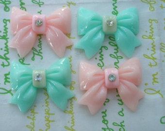 sale Chunky bow with rhinestone cabochons 4pcs  Mix