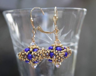Hand Beaded Bead earrings, Cobalt blue, gold and brown, with 14k gold filled findings
