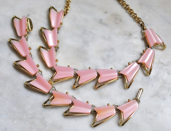 Atomic Pink Thermoset Necklace and Bracelet Demi