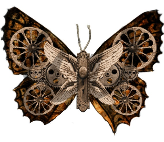Steampunk Butterflies - 6 PNG Images Instant Digital Download - for ACEO, Tags, Collage Art, and More