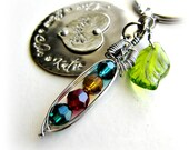 Mommy Grandmother Keychain, Pea Pod with Birthstone Crystals, Hand Stamped Heart Disc