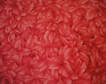 Coral Floral Fabric -- THREE and ONE THIRD yards