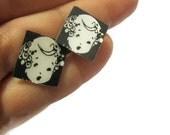 Thirties Vintage Little Kawaii Adorable Girl Studs Print Earrings Photo Jewelry