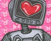 CLEARANCE SALE Robot Love ACEO Valentine Original Mini Art Ooak Atc Card