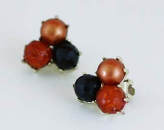 Black and Copper Colored Bead Cluster Earrings - Vintage Costume Jewelry