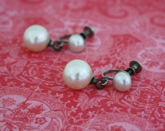 Faux Pearl Dangle Screw On Earrings - Vintage Costume Jewelry