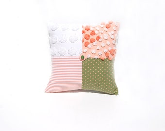 Chenille Pillow - Billie Jean - Green Orange Peach Vintage Chenille Handmade Charm Pillow