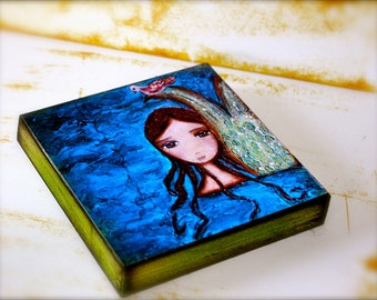 The Mermaid and The Dove -   Giclee print mounted on Wood (4 x 4 inches) Folk Art  by FLOR LARIOS