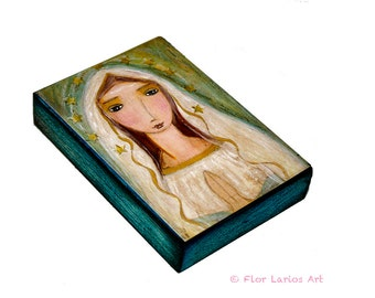 Our Lady of Lourdes- First Communion - Giclee print mounted on Wood (5 x 7 inches) Folk Art  by FLOR LARIOS
