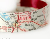 SALE Austin Map Bracelet, Map Jewelry, Texas, Cuff Bracelet, Travel, Upcycled - Ready to Ship - Gift under 30