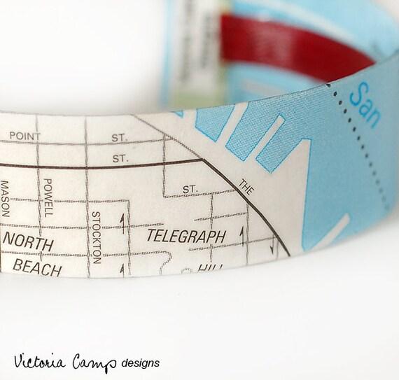 SALE San Francisco Street Map Cuff Bracelet, Ready to Ship, North Beach, Lombard, Ghirardelli Square