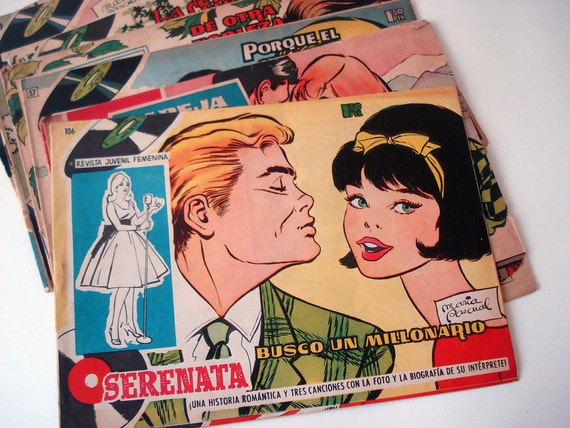 FOUND IN SPAIN -- Set of 7 romantic comic books from the 1950s