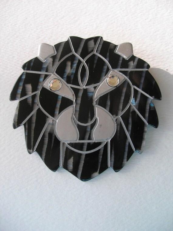 Lg Vintage Deco Modernist Lucite Lion Big Cat Pin Black Silver Rhinestone
