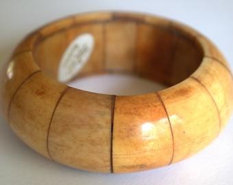 HUGE HEAVY Vintage Rustic Genuine Ox Bone Panel Bangle Bracelet Made in Barkhor, Tibet