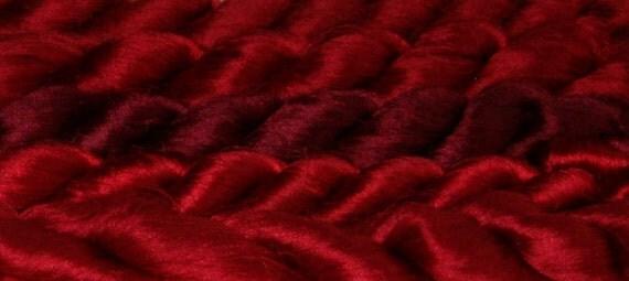 5.3 oz Recycled Sari Silk Fiber, Fair Trade, Premium Quality Silk Thrum, Red, 150 grams, Grade AA