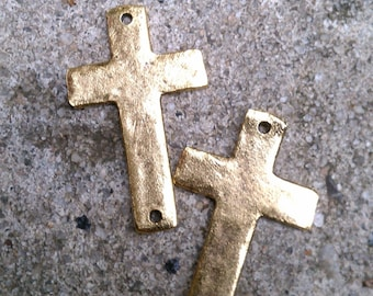 One-Hole Flat Hammered Gold-Dipped Pewter Cross