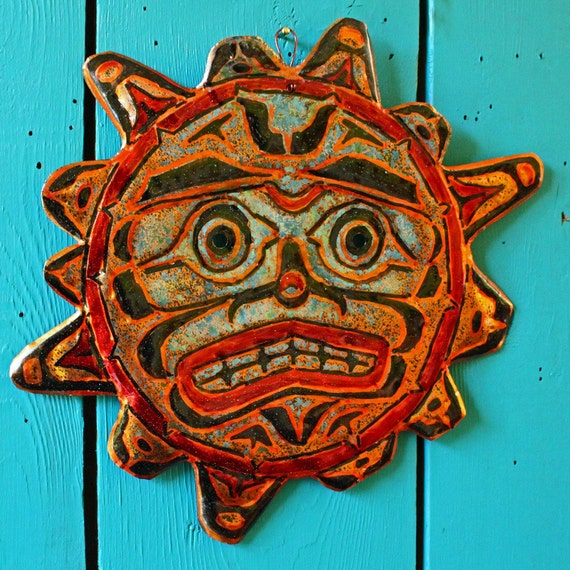 Sun Spirit - copper wall mask sculpture by Mark - Pacific Northwest Coast Indian-inspired - OOAK