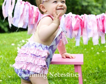 Baby Girl Chevron Sunsuit Romper Bubble with Ruffles - Lavendar and Pink