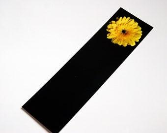 SALE - Yellow Gerbera Daisy on Black Photo Bookmark