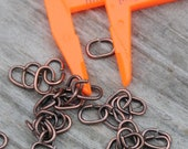 50 Twisted OVAL COPPER Jump Rings