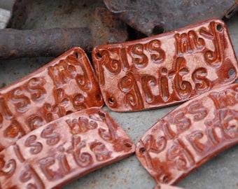 Pottery Ceramic Bracelet Cuff Bead Kiss my Grits