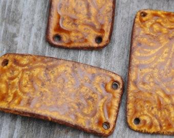 Pottery Cuff Bead in Molasses