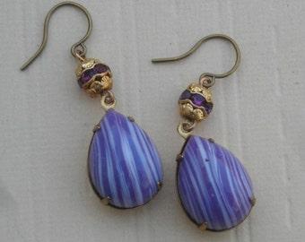Purple Rhinestone Earrings Vintage Assemblage Tear Drop Teardrop Earrings Striped Purple White GLass Earrings