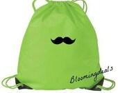 Mustache CIinch Sack Book Bag