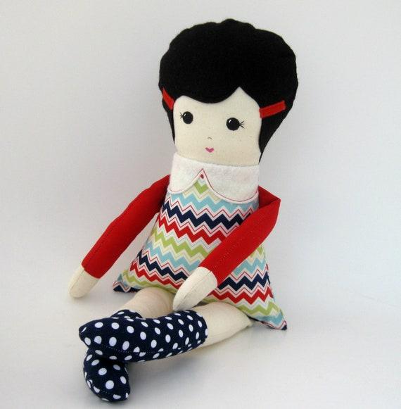 Handmade Cloth rag doll chevron dress navy blue and red fabrics black hair