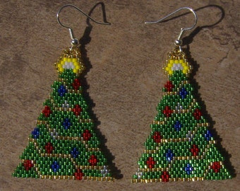 Christmas Tree Earrings Hand Made Seed Beaded