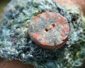 Recycled Sari Silk Crochet Fiber Cuff Bracelet Glazed Pottery Button CarlaAlexander