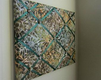 "16""x20"" Memory Board, Bow Holder, Bow Board, Vision Board, Ribbon Board, Memo Board, Photo Display, Business Card Holder, Green Earth Batik"