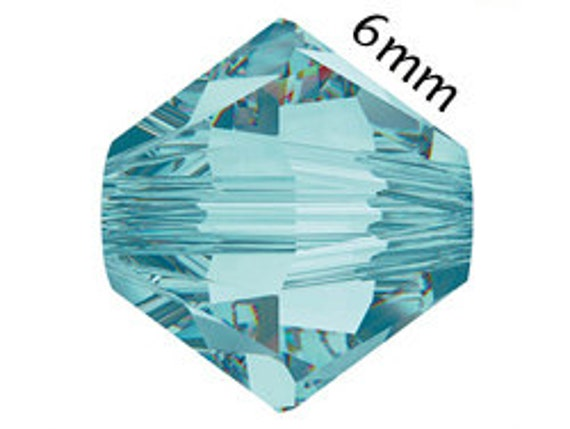 NEW COLOR... 12 SWAROVSKI Crystals Beads Light Turquoise 6mm Bicone 5301 5328 Over 70 Colors In Stock