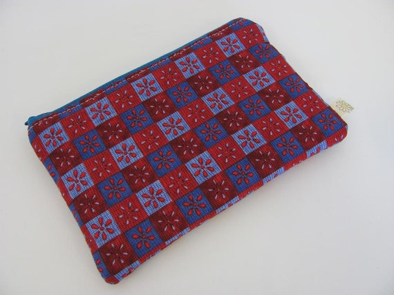 Small Pouch - Red and Blue Pouch - Padded Pouch - Zippered Pouch