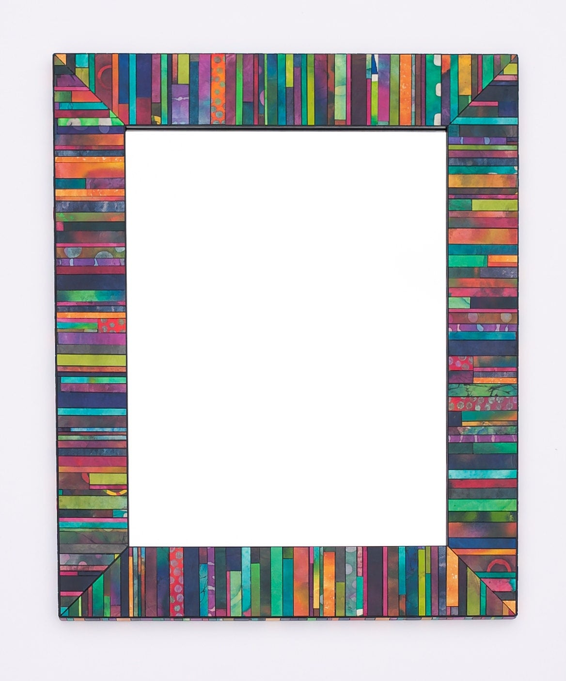 Wall Mirror Rectangle Colorful Geometric Striped Mosaic