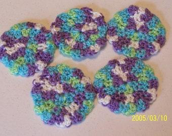 Crochet Baby Bath Scrubbie in Multi Color - Set of 5