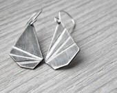 Asymmetric Sterling Silver Geometric Earrings, dangle earrings, industral earrings, minimal design, made in Italy