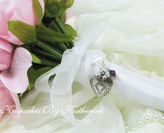 Locket Bouquet Charm with Crystal, Bouquet Locket, Brides Charm