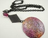 Hand painted Pendant, Purple, pink, yellow, orange, Fuschia Crystal, Long arte metal chain necklace