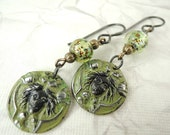 Maidenflower charm painted earrings, Rustic green goddess face earrings, Dangle Earrings