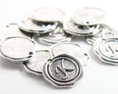12pcs Oxidized Silver Base Metal Charms-Wax Seal-Letter-Alphabet- K-19mm (15706Y-J-207)