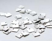 60pcs Oxidized Silver Tone  Base Metal Charm - Square 9mm (25700Y-P-166)
