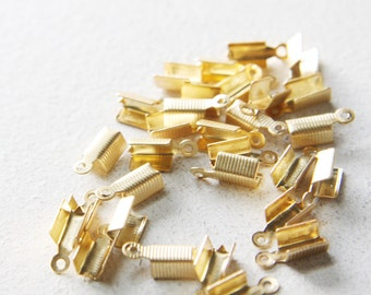 10 Pieces Premium Matte Gold Plated Cord Tips-13x5mm (340C-I-154)