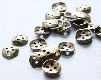 26pcs Antique Brass Tone Base Metal Waved Buttons-14x3mm (9474Y-E-359)
