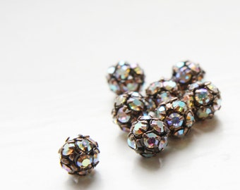 4pcs Czech Antique Copper Tone Base Metal  Rhinestone Balls - Crystal AB 8mm (1092)