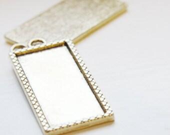 2pcs Oxidized Gold Tone Base Metal Cameo Settings-57x25mm (12862Y-D-402)