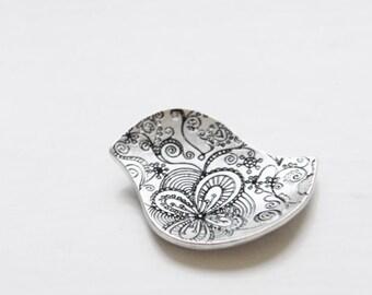 2pcs Oxidized Silver Plated Base Metal Charm - Bird 29x16mm (109C-S-31)